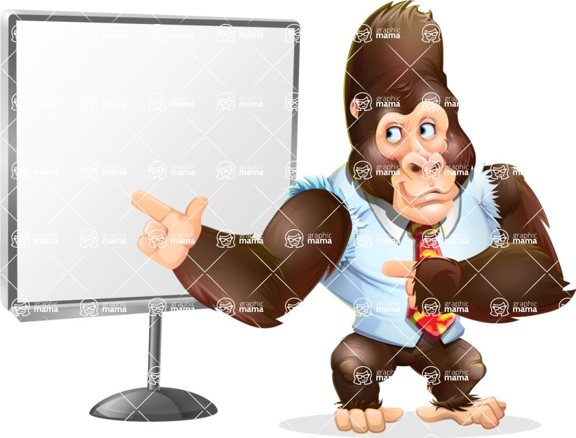 Funny Gorilla Cartoon Vector Character - Pointing on a Blank whiteboard