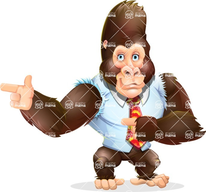 Funny Gorilla Cartoon Vector Character - Pointing with both hands