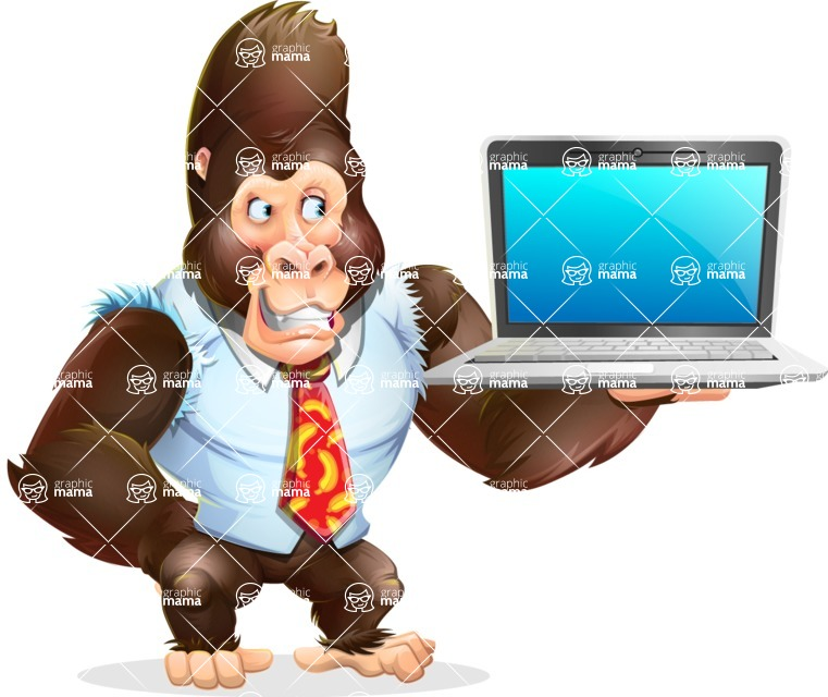 Funny Gorilla Cartoon Vector Character - Presenting on laptop
