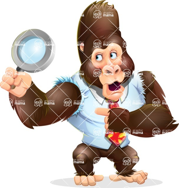 Funny Gorilla Cartoon Vector Character - Searching with magnifying glass
