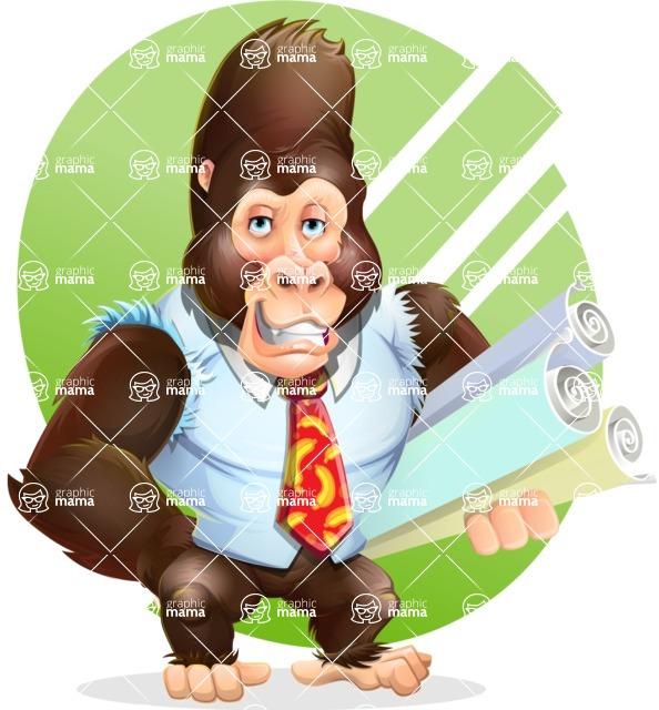 Funny Gorilla Cartoon Vector Character - Shape 10