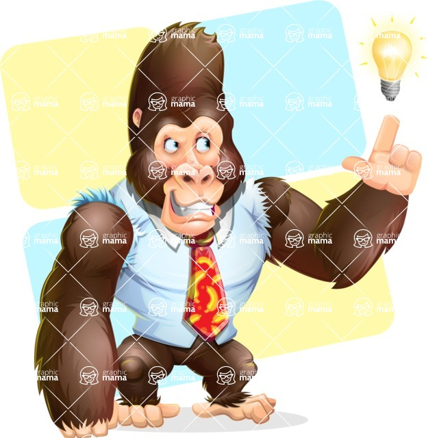 Funny Gorilla Cartoon Vector Character - Shape 12