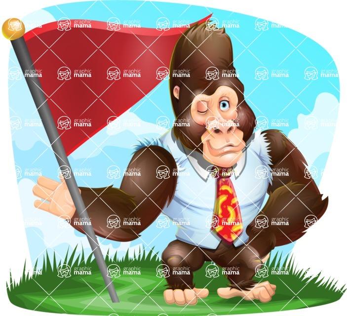 Funny Gorilla Cartoon Vector Character - Shape 9