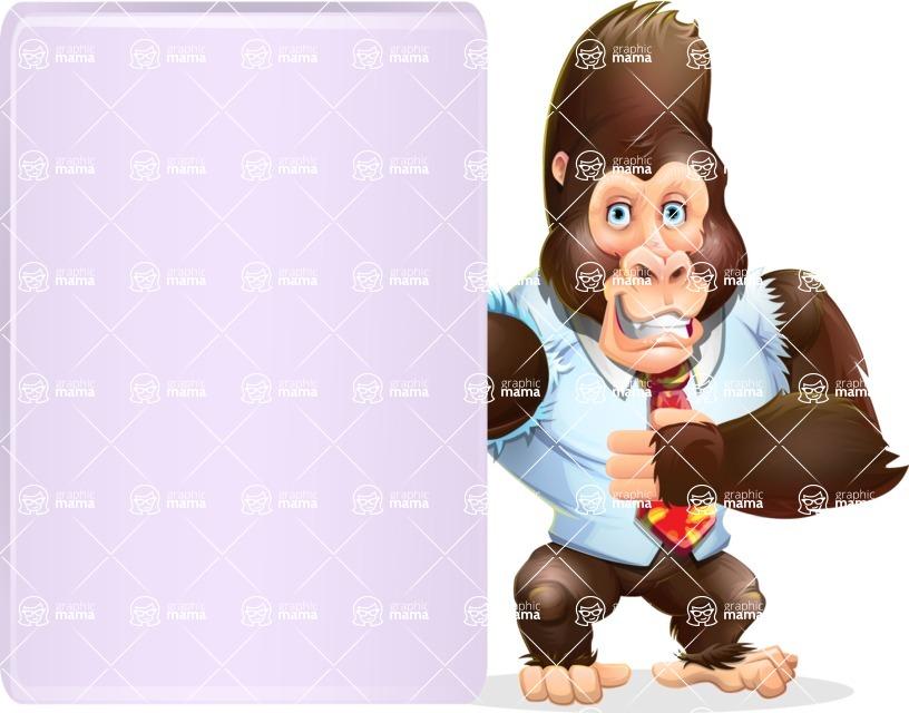 Funny Gorilla Cartoon Vector Character - Showing Big Blank banner
