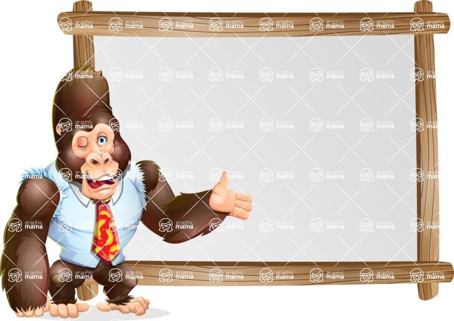 Funny Gorilla Cartoon Vector Character - Showing on Big whiteboard