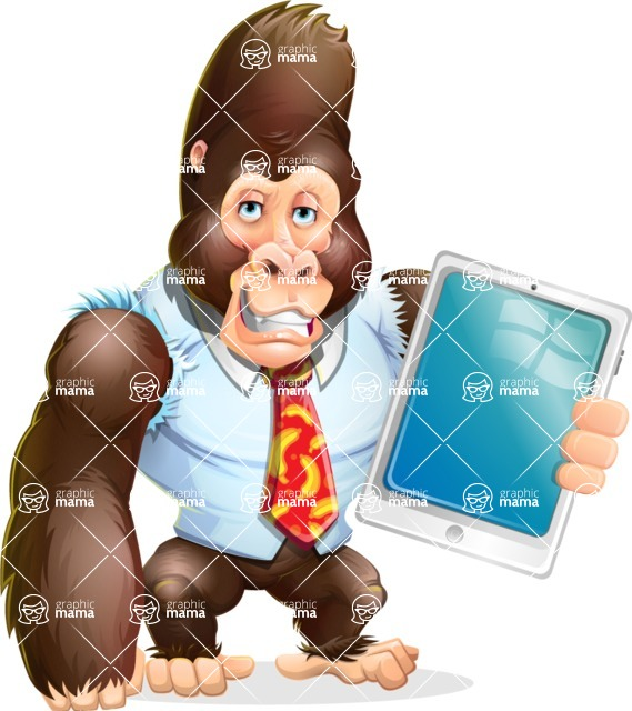 Funny Gorilla Cartoon Vector Character - Showing tablet