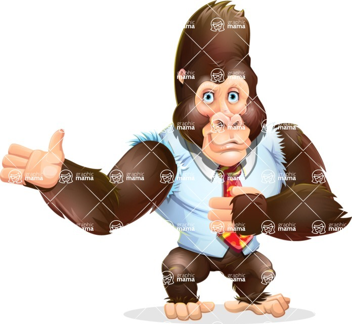 Funny Gorilla Cartoon Vector Character - Showing with both hands