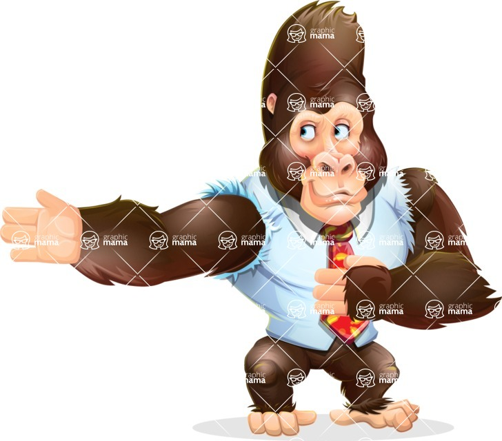 Funny Gorilla Cartoon Vector Character - Showing with right hand