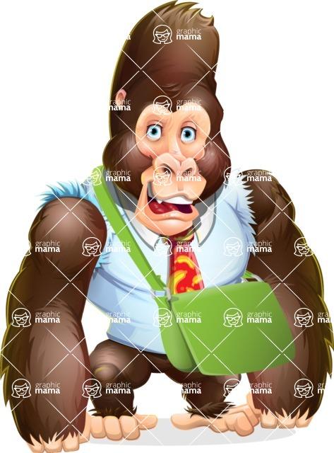 Funny Gorilla Cartoon Vector Character - Traveling