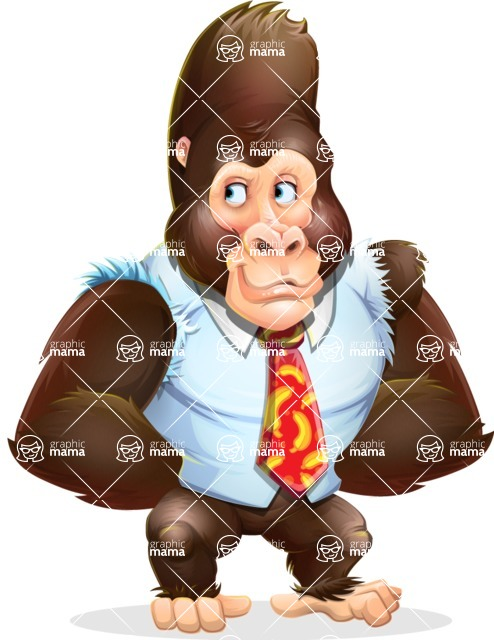 Funny Gorilla Cartoon Vector Character - Waiting with hands behind back