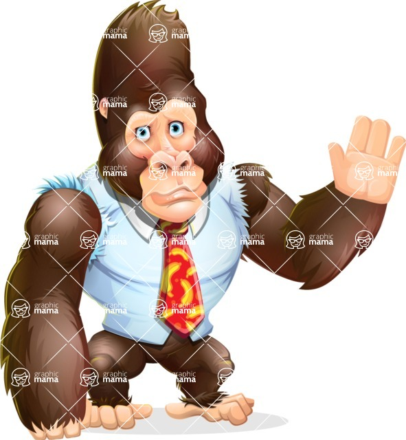 Funny Gorilla Cartoon Vector Character - Waving for Goodbye with a hand