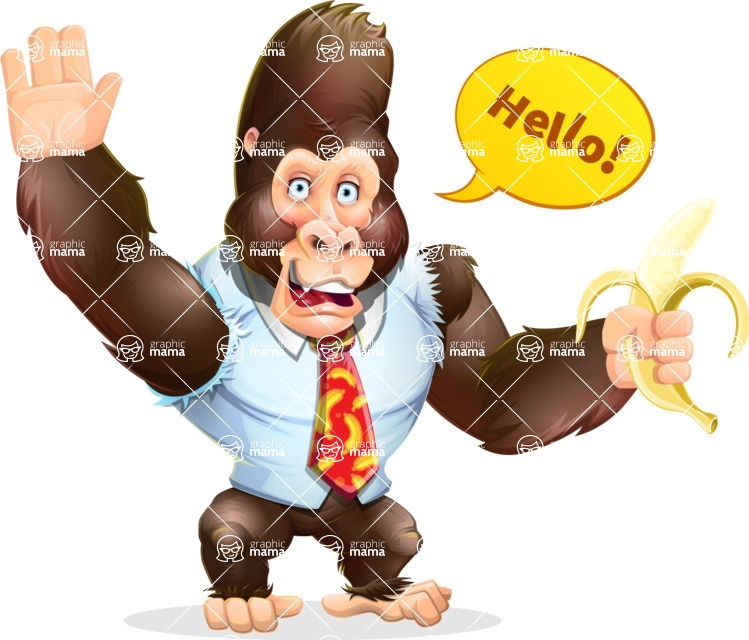 Funny Gorilla Cartoon Vector Character - Waving for Hello with a hand