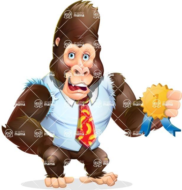 Funny Gorilla Cartoon Vector Character - Winning prize