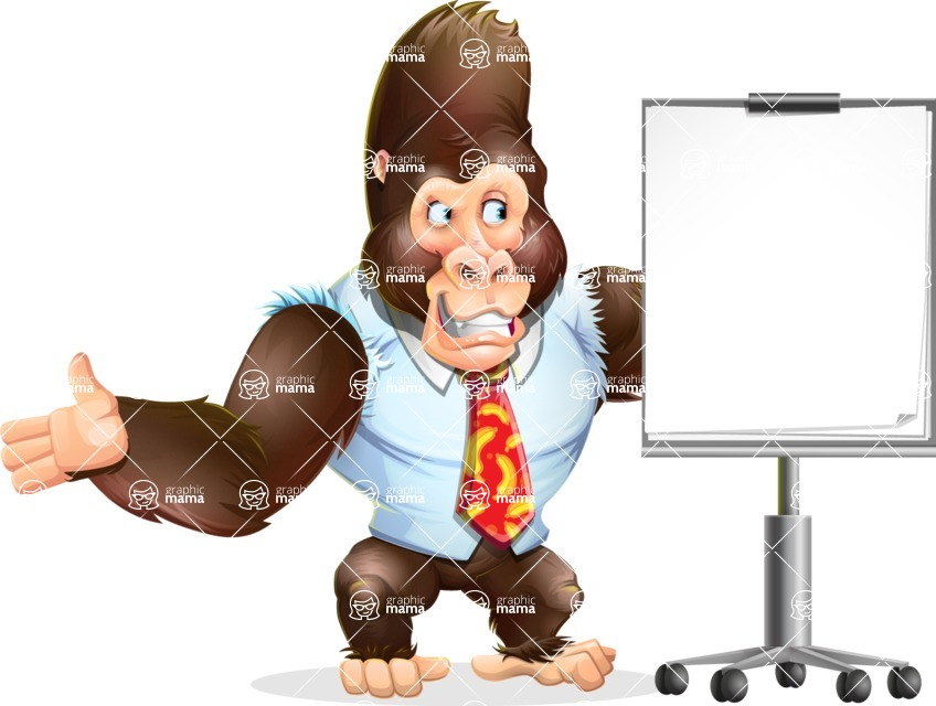 Funny Gorilla Cartoon Vector Character - with a Blank Presentation board
