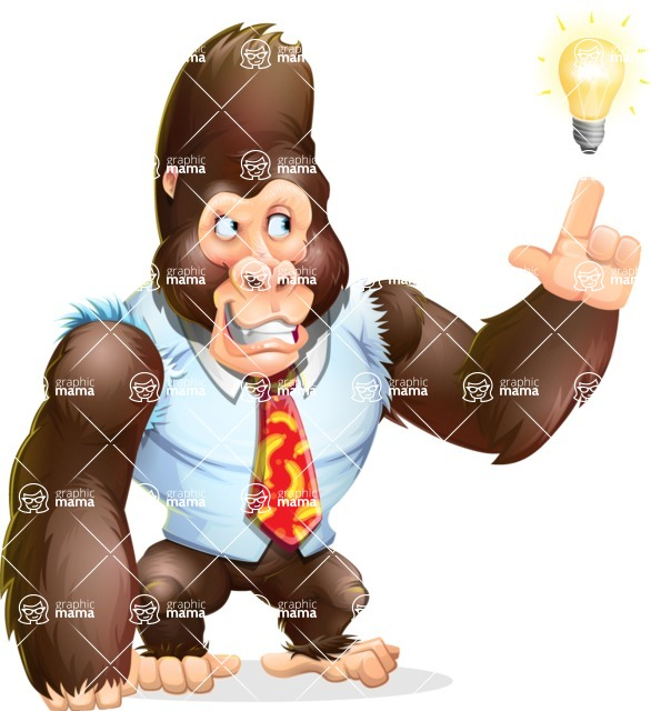 Funny Gorilla Cartoon Vector Character - with a Light bulb