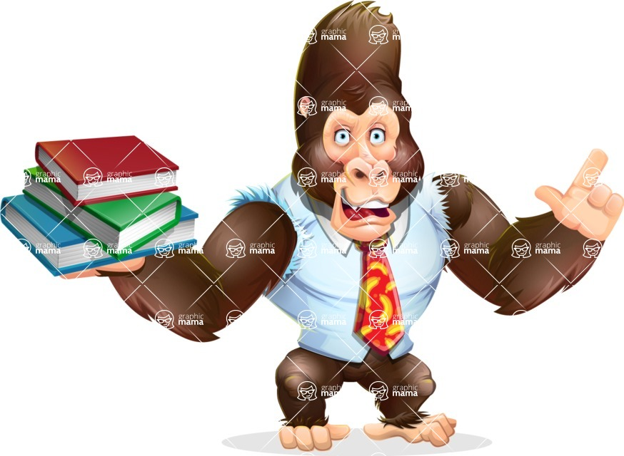 Funny Gorilla Cartoon Vector Character - with Books