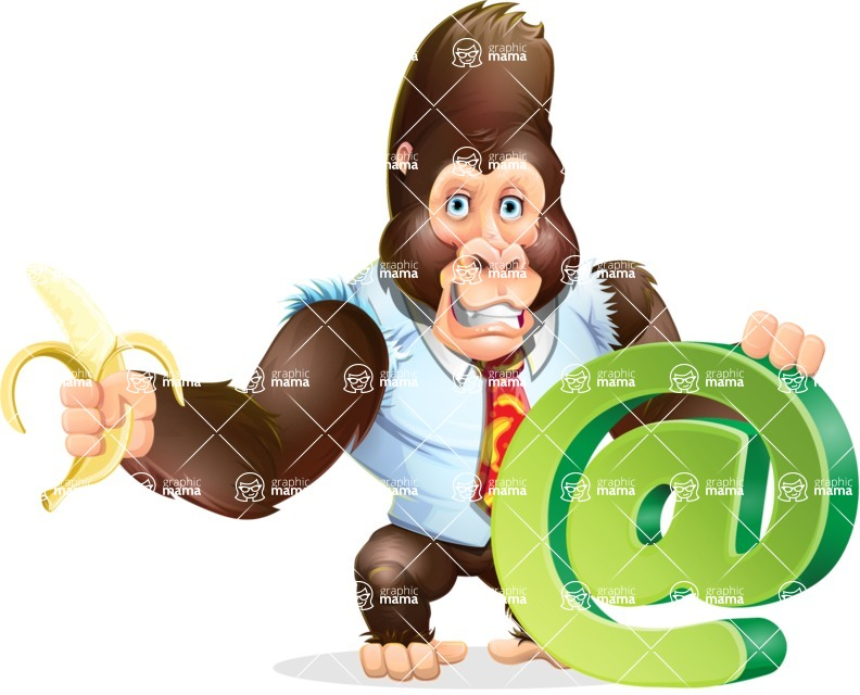 Funny Gorilla Cartoon Vector Character - with Email sign