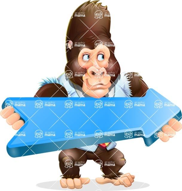 Funny Gorilla Cartoon Vector Character - with Positive arrow