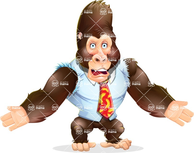 Funny Gorilla Cartoon Vector Character - with Stunned face