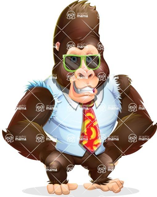 Funny Gorilla Cartoon Vector Character - with Sunglasses