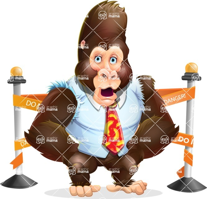 Funny Gorilla Cartoon Vector Character - with Under Construction sign