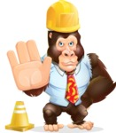 Funny Gorilla Cartoon Vector Character - as a Construction worker