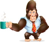 Funny Gorilla Cartoon Vector Character - Drinking Coffee