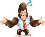 Funny Gorilla Cartoon Vector Character - Feeling Confused