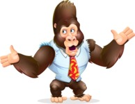 Funny Gorilla Cartoon Vector Character - Feeling Lost