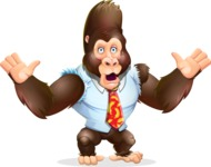 Funny Gorilla Cartoon Vector Character - Feeling Shocked