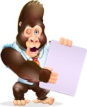Funny Gorilla Cartoon Vector Character - Holding a Blank banner