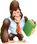 Funny Gorilla Cartoon Vector Character - Holding a book
