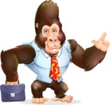 Funny Gorilla Cartoon Vector Character - Holding a briefcase