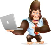 Funny Gorilla Cartoon Vector Character - Holding a laptop