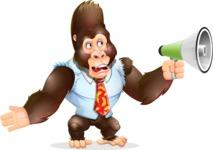 Funny Gorilla Cartoon Vector Character - Holding a Loudspeaker