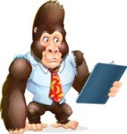 Funny Gorilla Cartoon Vector Character - Holding a notepad