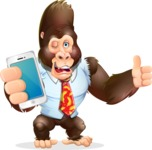 Funny Gorilla Cartoon Vector Character - Holding a smartphone