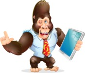 Funny Gorilla Cartoon Vector Character - Holding an iPad