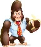 Funny Gorilla Cartoon Vector Character - Holding banana