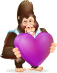 Funny Gorilla Cartoon Vector Character - Holding heart