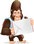 Funny Gorilla Cartoon Vector Character - Holding mail envelope