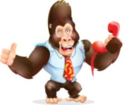Funny Gorilla Cartoon Vector Character - Holding phone with thumbs up