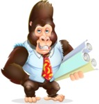 Funny Gorilla Cartoon Vector Character - Holding Plans