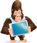 Funny Gorilla Cartoon Vector Character - Holding tablet