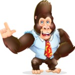 Funny Gorilla Cartoon Vector Character - Making a point