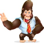 Funny Gorilla Cartoon Vector Character - Making Funny face