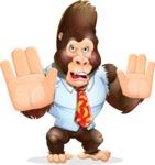 Funny Gorilla Cartoon Vector Character - Making stop gesture with both hands