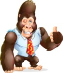 Funny Gorilla Cartoon Vector Character - Making Thumbs Up