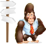 Funny Gorilla Cartoon Vector Character - on a Crossroad with sign pointing in all directions
