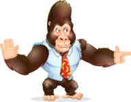 Funny Gorilla Cartoon Vector Character - Pointing with a fnger